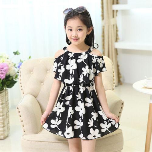 Kids Girls Summer Flower Chiffon Dress Children Beach Casual Clothing Dress UK