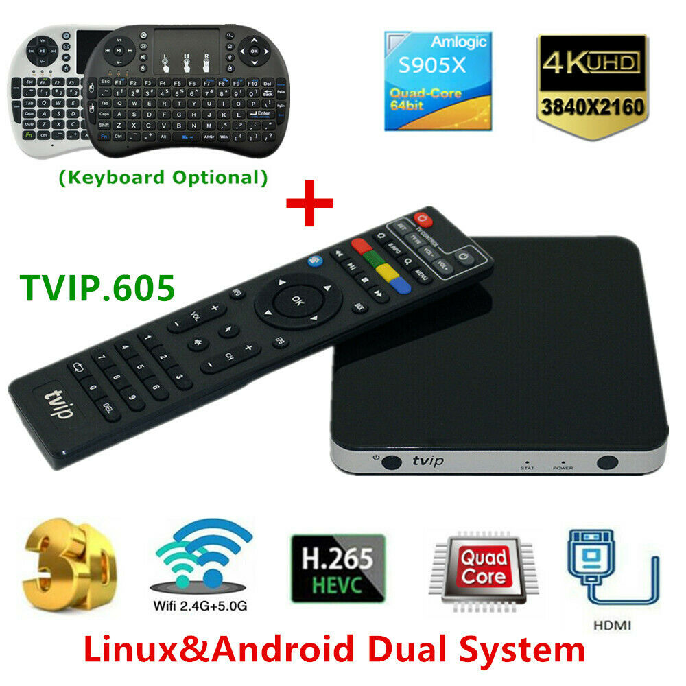 Lot TVIP.605 4K UHD 3D TV Box H2.65 Linux&Android 2.4G/5GWiFi Smart Media Player box lot media player smart uhd