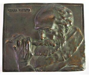 Bronze-Platte-Wandplatte-signiert-Betzler-Stara-Pjesma-ein-altes-Lied