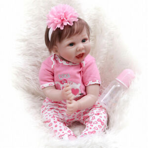 """22"""" Reborn Baby Doll Lifelike Real Touch Soft Body Smile Face Doll  for Girl"""