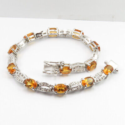 """Disciplined Genuine 925 Stamped Citrine Solid Sterling Silver 7.2"""" Bracelet Women's Jewelry Relieving Heat And Thirst. Bridal & Wedding Party Jewelry Jewelry & Watches"""