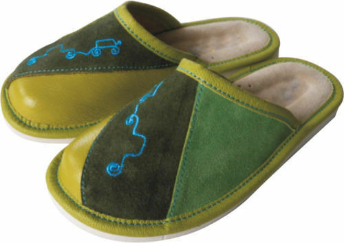HAND MADE IN VERDE BOY/'S LEATHER Pantofole Scarpe