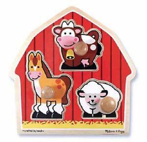 Melissa & Doug Barnyard Animals Jumbo Knob Puzzle # 2054 New Sealed