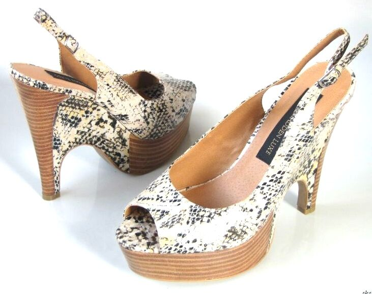New STEVE STEVE STEVE MADDEN Luxe open-toe snake-print WEDGES platforms heels shoes 9.5 SEXY 570608