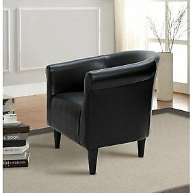 Mainstays Black Faux Leather Bucket Chair Lightweight Easy