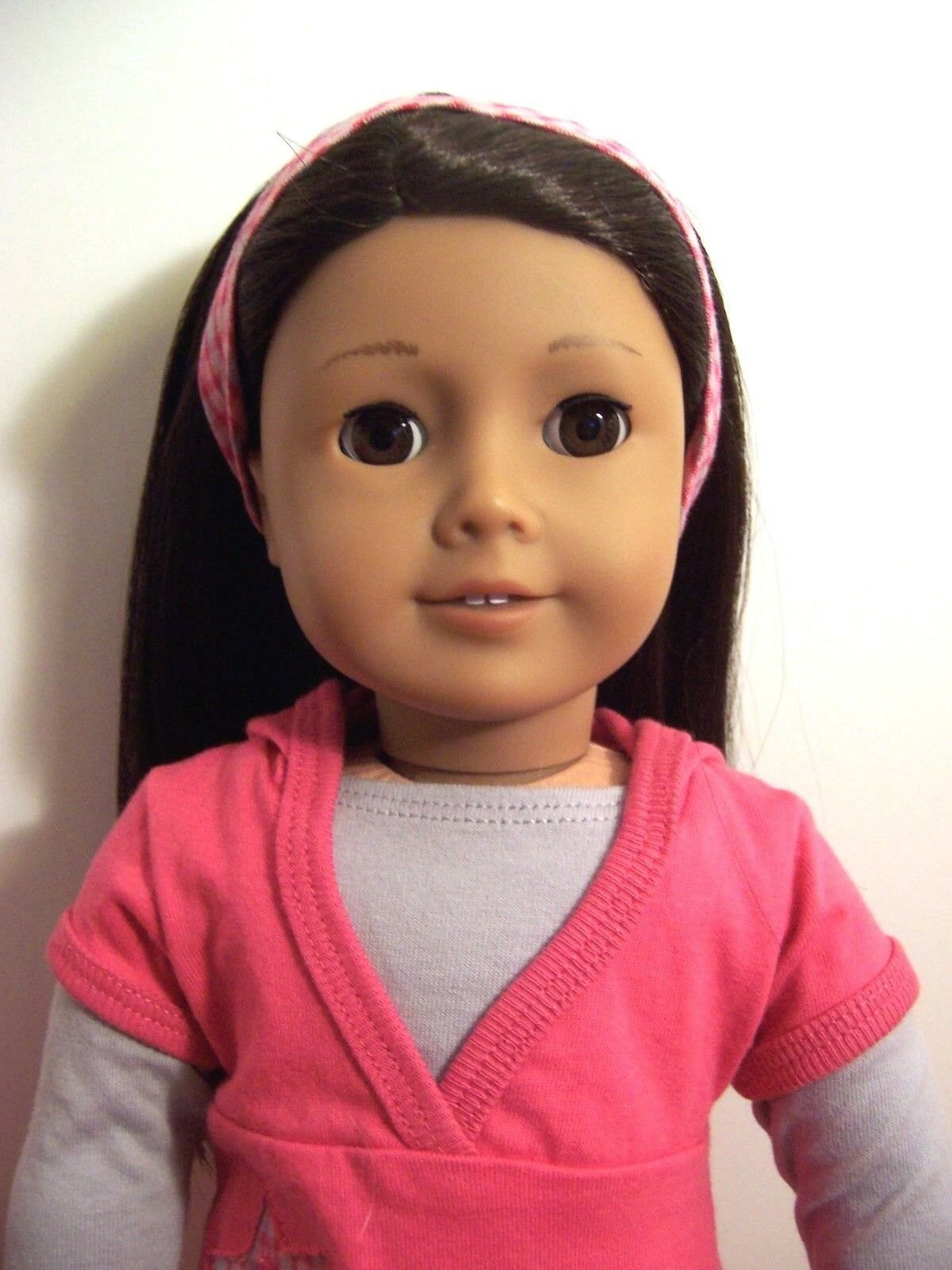 American Girl Doll Cabello Oscuro Marrón Ojos Con Estrella Sudadera Con Capucha Traje
