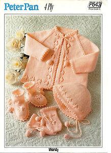 cf2f23ced Peter Pan 643 Vintage Baby Girl Knitting Pattern 4 ply 16-20