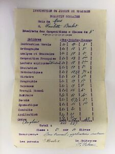 Ancien-Bulletin-Scolaire-De-1941-Institution-St-Joseph-Solesmes