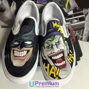 Vans-Slip-On-Batman-amp-Joker-Scarpe-Disegnate-Handmade-Paint-Uomo-Donna-Classiche