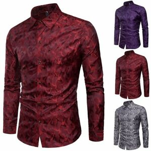 Luxury-Men-039-s-Stylish-Casual-Dress-Shirt-Slim-Fit-Long-Sleeve-Formal-T-Shirt-Tops