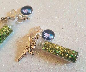 1-x-Tinkerbell-Fairy-Fairies-Disney-Glitter-Silver-Plated-Clip-On-Charm-Keyring