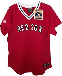 size 40 bd4fe 44077 Details about Boston RED SOX MLB COOPERSTOWN Red MAJESTIC Throwback JERSEY  Womens L