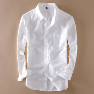 Mens-Cotton-linen-Shirts-Long-Sleeve-Breathable-Casual-Beach-Slim-Fit-T-Shirts