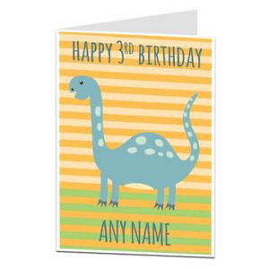 Image Is Loading 3rd Birthday Card Dinosaur Boys Son Nephew Grandson