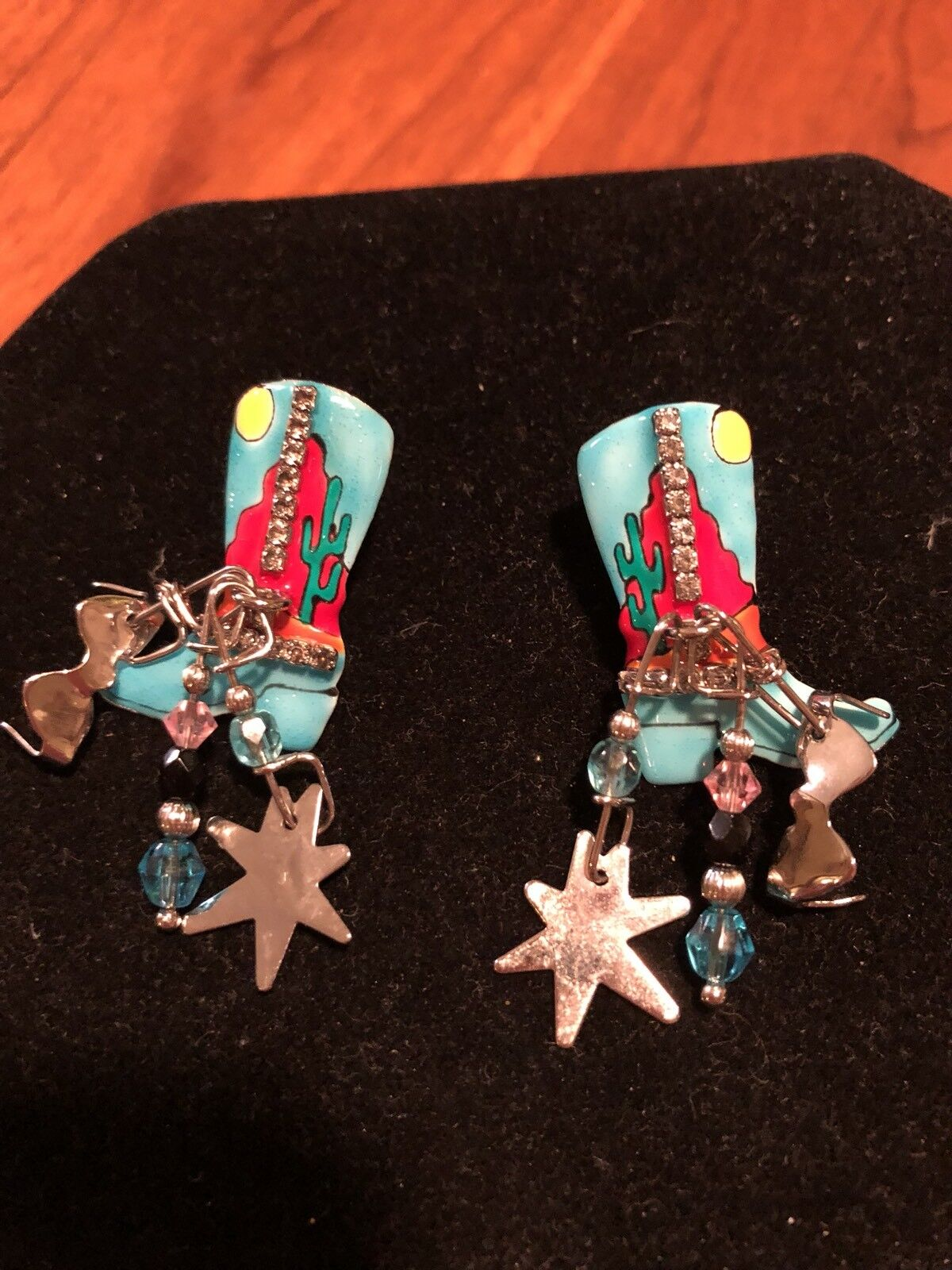 Lunch At The Ritz COWBOY BOOTS Pierced Earrings