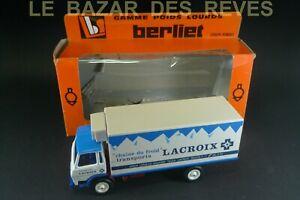 """LOUIS SURBER. BERLIET GRH 230. promotionnel """"LACROIX""""+ Boite.Echelle 1/43"""