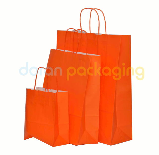 Orange Twist Handle Paper Party and Gift Carrier Bag / Bags With Twisted Handles