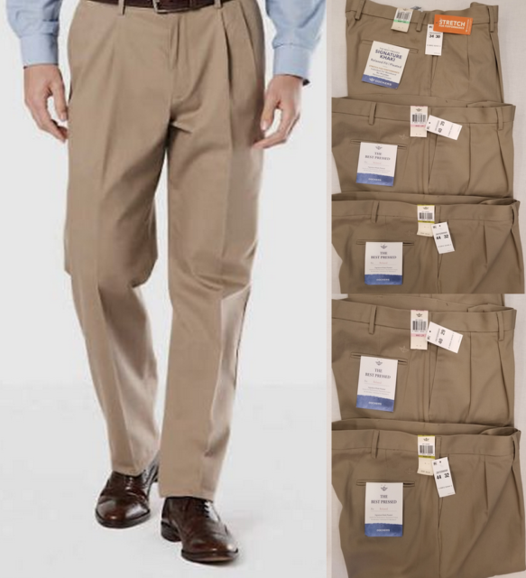 NEW Men/'s Dockers Best Pressed D4 Relaxed Fit Pleated Tan Stretch Khaki Pants