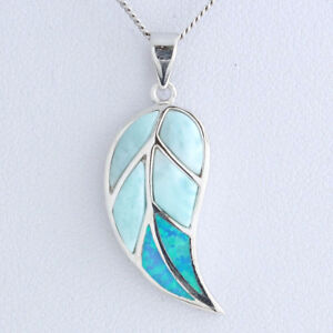925-Sterling-Silver-Opal-Natural-Dominican-Larimar-Gemstones-Pendant-Necklace-18