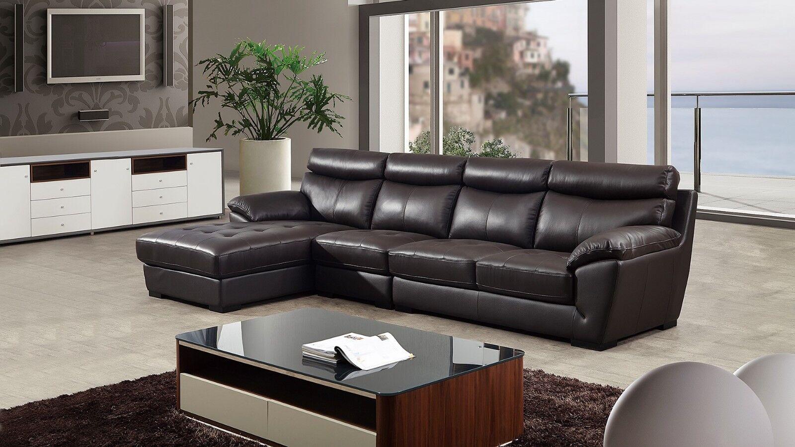 3 PC Modern Dark Brown Italian Top Grain Leather Sectional Sofa Chaise  Chair Set