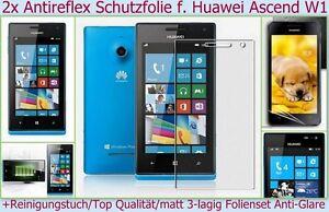 2x Anti reflex glare Display Schutz Folie Huawei Ascend W1 Handy Screen matt Set