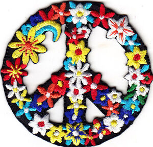 Details about FLOWER PEACE SIGN Iron On Patch Love Peace Biker Woodstock  Love Summer