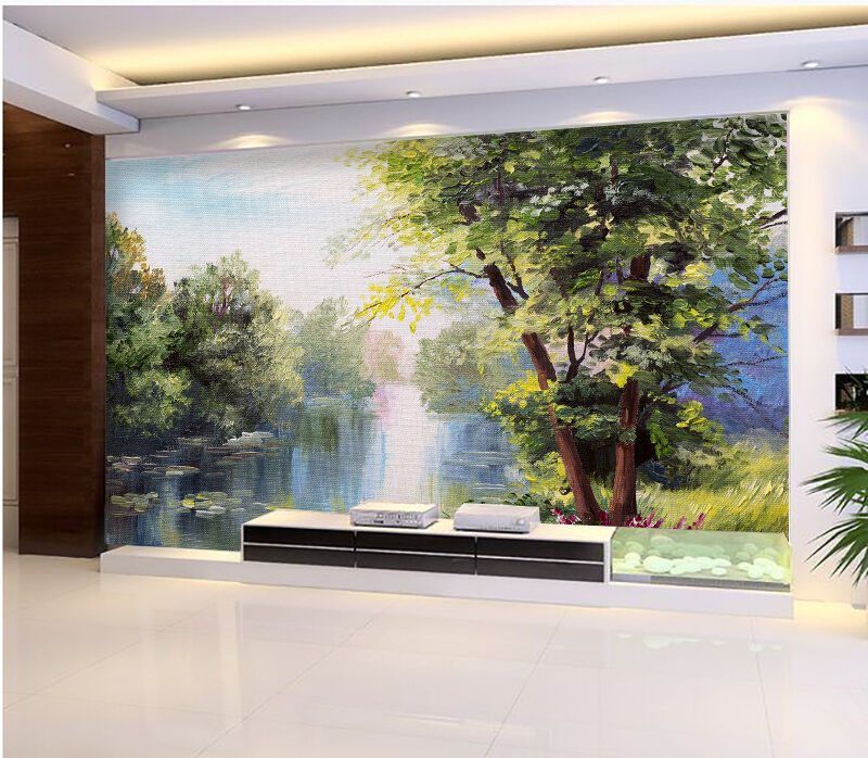 3D oil painting wetland Wall Paper wall Print Decal Wall Deco Indoor wall Mural