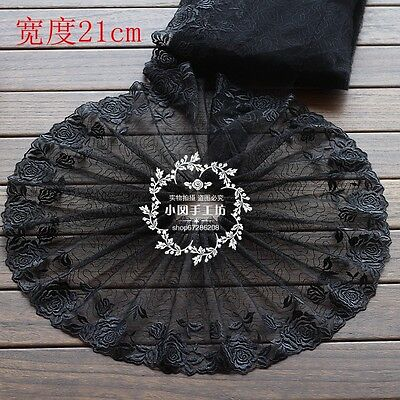"""Beautiful Soluble Floral Embroidery Lace Trims Black Mesh 8 1/4"""" Wide 1 Yd"""