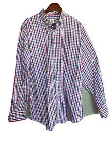 Peter-Millar-Men-039-s-XL-Shirt-Blue-Plaid-Button-Down-Long-Sleeve-Collared-EUC