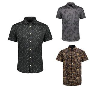 Jack-amp-Jones-De-Hombre-De-Manga-Corta-Estampado-Floral-De-Verano-Playa-Slim-Fit-Camisas