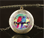 Vintage Pretty Parrot Bird Cabochon Glass Brass Locket Pendant Necklace