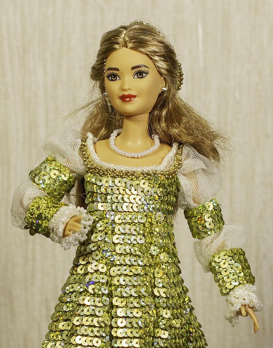 Muñeca de crochet Paradise cuento de hadas Renacimiento Princesa Barbie Vestido De Lentejuelas