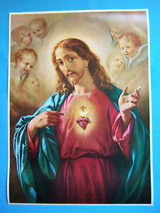 Catholic-Print-Picture-SACRED-HEART-OF-JESUS-angels-Morgari-large-20x28-034-poster