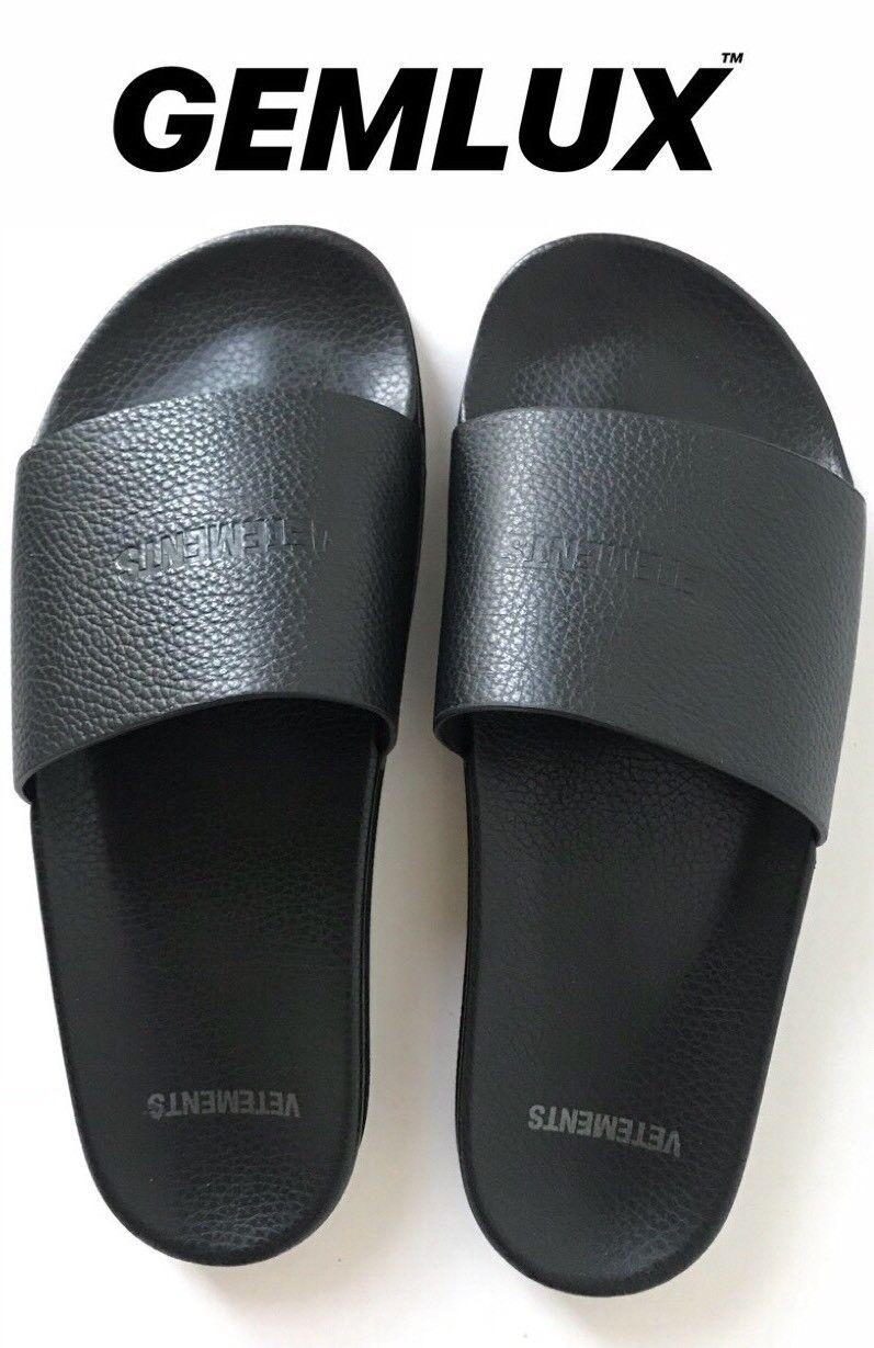 Pantofole da uomo Veteuomots LOGO-IN RILIEVO pelle pieno fiore diapositive Taglia 43 UK9 RRP