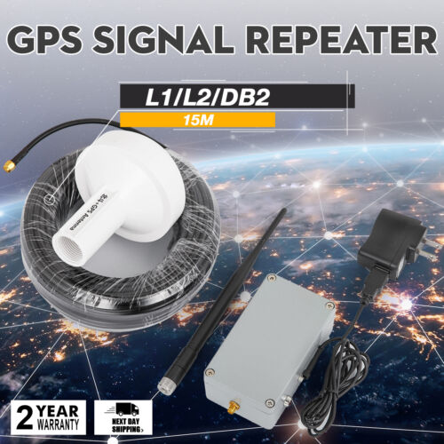 GPS Signal Repeater Amplifier Transfer 25M Antenna Full Kit Indoor L1 Tunnel