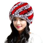 Salewell Women Headgear Winter Knitted Fur Caps Warm Hats Rex Rabbit Fur Hat