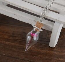 Beautiful Flower Glass Vial Vase Charm Pendant Necklace Love Cute Gift Present