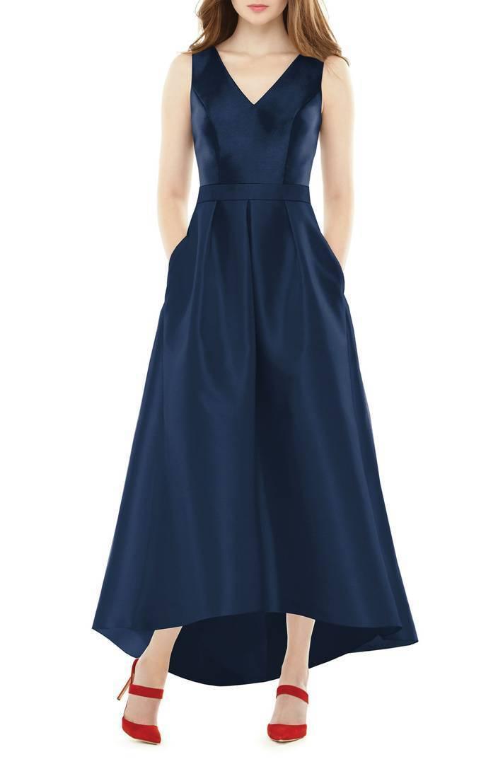 ALFRED SUNG HIGH LOW SATIN TWILL MIDNIGHT DRESS GOWN sz 16