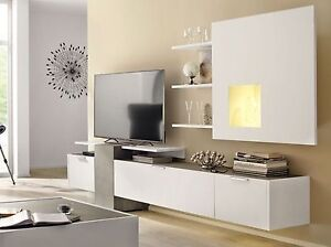wohnwand schrankwand h lsta lack weiss grau fena neu ebay. Black Bedroom Furniture Sets. Home Design Ideas