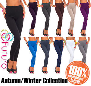 Womens-Thick-Warm-Cotton-Full-Length-Leggings-UK-Size-6-22-amp-All-Colours