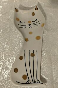Vintage Anthropologie Kitty Cat Trinket Jewelry Ring Dish Tray w/ Gold Dots Cute