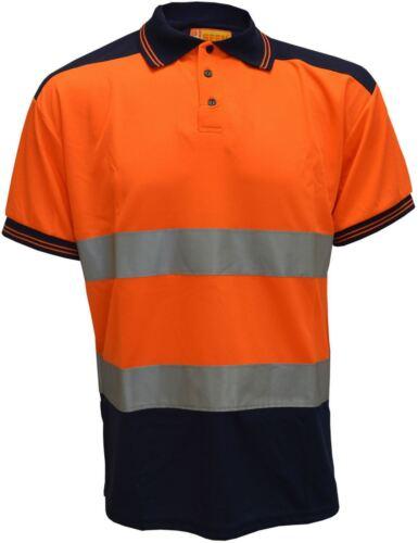 New Mens Visibility Two Tone Short Sleeve Polo Hi Vis High Work Shirt