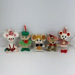 Vintage-Flocked-Felt-Christmas-Ornaments-Mice-Mouse-Lot-of-5-Tree-Decoration