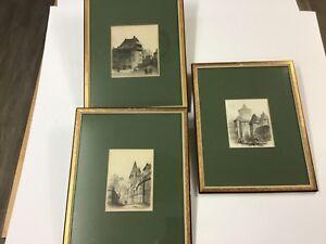 3-Identically-Framed-Lorenz-Ritter-Etchings-Nuremberg-Buidings