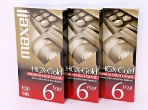 3 BRAND NEW Maxell Premium High Grade HGX Gold T-120 Blank VHS Video Tapes Lot