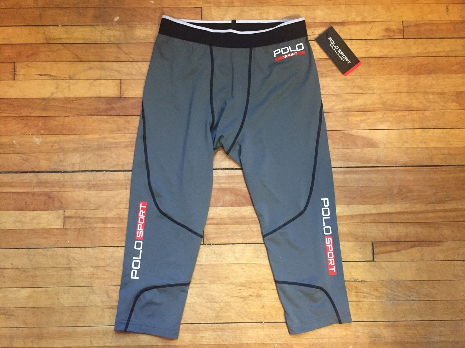 RALPH LAUREN POLO SPORT COOL WORKOUT grau COMPRESSION TIGHTS S M GYM RUN