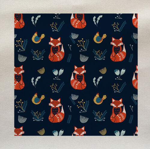 Scandinavian Fox poule Motif Imprimé Tissu Panneau faire COUSSIN Ameublement Artisanat