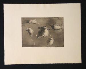 Wolfgang Werkmeister, Stillleben mit totem Vogel, Radierung, 1977, signiert