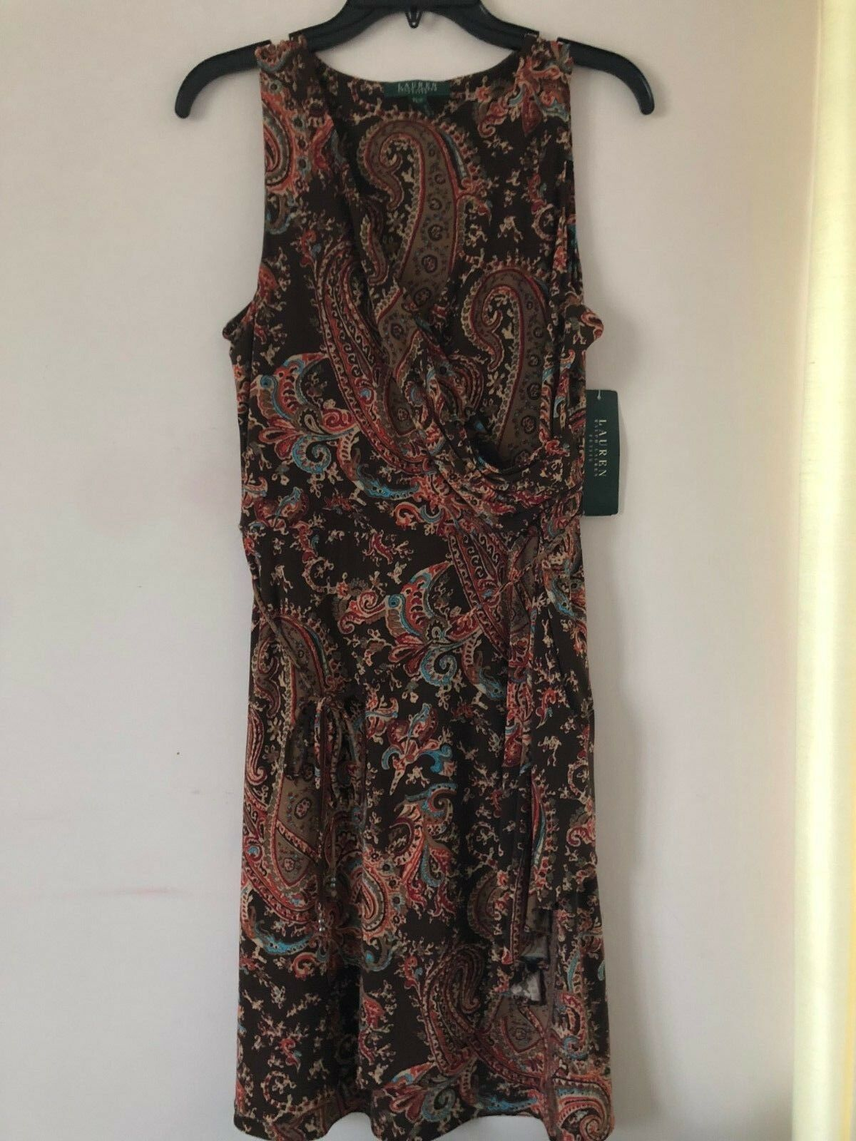 Ralf Lauren Belted Dress color Brown Paisley Size PL NWT