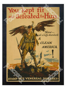 Historic-WWI-Recrutiment-Poster-kept-fit-and-defeat-the-Hun-Postcard